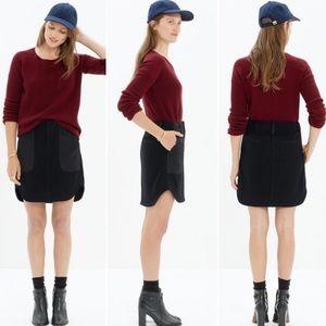 Madewell black wool blend mini skirt